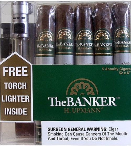 H. Upmann The Banker Annuity 5 Cigar Sampler with Torch Lighter