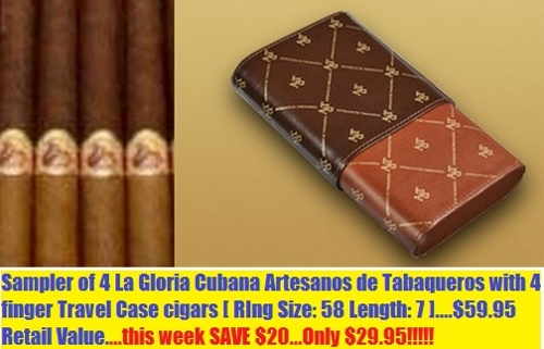 La Gloria Cubana Art de Tab 758 4 pack w Travel Case SAVE $10